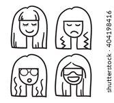 woman face vector icon hand... | Shutterstock .eps vector #404198416