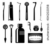 Dental Care Items Silhouettes....