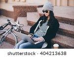 modern blogger at work.... | Shutterstock . vector #404213638