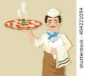 pizza chef with pizza | Shutterstock .eps vector #404221054