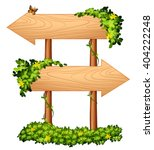 Wooden Signs With Plant And Bu...