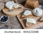 homemade cheese on sliced bread ... | Shutterstock . vector #404223388