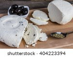 homemade cheese sliced with... | Shutterstock . vector #404223394