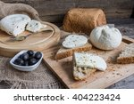 homemade cheese on sliced bread ... | Shutterstock . vector #404223424