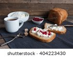 homemade cheese with raspberry... | Shutterstock . vector #404223430