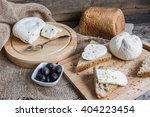 homemade cheese on sliced bread ... | Shutterstock . vector #404223454