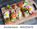 sandwich with egg  tomato ... | Shutterstock . vector #404223670