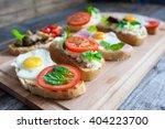 sandwich with egg  tomato ...   Shutterstock . vector #404223700