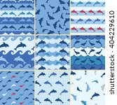 dolphin pattern  sea seamless... | Shutterstock .eps vector #404229610
