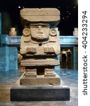 Small photo of Mexico City, Mexico - January 2013: The monolithic statue of Chalchiuhtlicue, goddess of terrestrial water and wive of Tlaloc in the Teotihuacan Hall in the National Museum of Anthropology.