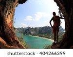 woman hiker enjoy the view at... | Shutterstock . vector #404266399