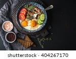 breakfast set. pan of fried... | Shutterstock . vector #404267170