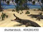 a prehistoric scene with two... | Shutterstock . vector #404281450
