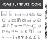 Home Furniture Outline Icons...