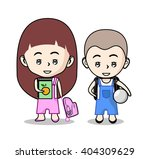 boy and girl cartoon with... | Shutterstock .eps vector #404309629