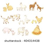 farm baby animals with mother... | Shutterstock .eps vector #404314438