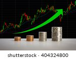stacks of coins in a growth... | Shutterstock . vector #404324800