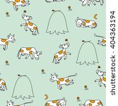 Seamless Pattern With Cows.