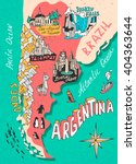 illustrated map of argentina.... | Shutterstock .eps vector #404363644