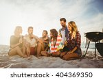 happy friends having fun near... | Shutterstock . vector #404369350