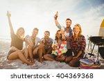 happy friends having fun near... | Shutterstock . vector #404369368