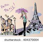 fashion girl rainy day in paris ...