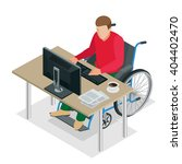 isometric wheelchair. man with... | Shutterstock .eps vector #404402470