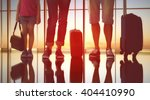 happy family with suitcases in... | Shutterstock . vector #404410990