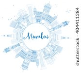 outline mumbai skyline with... | Shutterstock . vector #404411284
