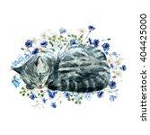 Watercolor Print Sleeping Cat...