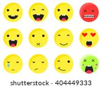 yellow round smile emoji set.... | Shutterstock .eps vector #404449333