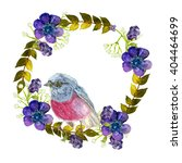 wreath with pink bird.... | Shutterstock . vector #404464699