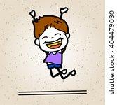 hand drawing cartoon happy kid... | Shutterstock .eps vector #404479030