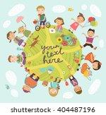 planet of children. vector... | Shutterstock .eps vector #404487196