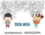 teenage girl and boy wearing...   Shutterstock .eps vector #404502094
