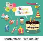 funny birthday set. birthday... | Shutterstock .eps vector #404505889