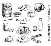 breakfast hand drawn set.... | Shutterstock . vector #404506348
