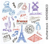 hand drawn doodle france... | Shutterstock .eps vector #404508823