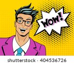 wow face. pop art man. young... | Shutterstock .eps vector #404536726