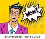 wow face. pop art man. young... | Shutterstock .eps vector #404536726
