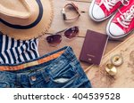 accessories for teenage girl on ... | Shutterstock . vector #404539528