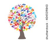 bird flying around a tree... | Shutterstock .eps vector #404539843