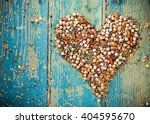 Raw Legume Heart On Old Rustic...