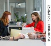 reception desk at office... | Shutterstock . vector #404598424