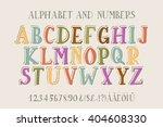 retro alphabet vector font.... | Shutterstock .eps vector #404608330