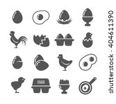 set of egg black icons isolated ... | Shutterstock .eps vector #404611390