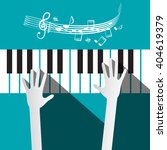 Hands On Piano Keyboard With...