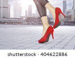 blurred city background and red ... | Shutterstock . vector #404622886