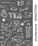 hand drawn vector tea time... | Shutterstock .eps vector #404637034