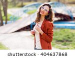 stylish  woman in casual spring ... | Shutterstock . vector #404637868